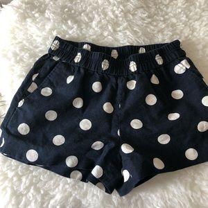 "J Crew Factory 3"" pull on shorts in Navy Polka dot"